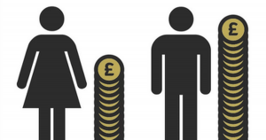 female and male figures with a pile of coins representing the gender pay gap